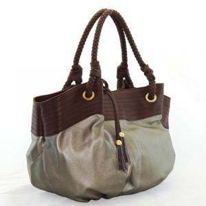 Fun Gun Metal Oversized Handbag with Brown Accents