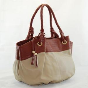 Fun Khaki Oversized Handbag with Sepia Accents