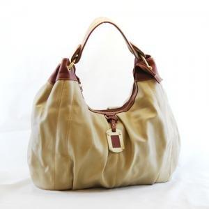 Fabulous Khaki Oversized Handbag with Sepia Handle