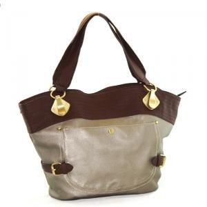 Fabulous Gun Metal Tall Handbag with Brown Accents