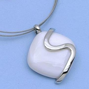 Fabulous White Pendant with Silver Swivel on Silver Chain