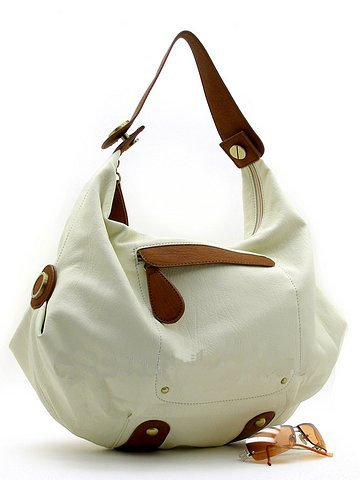Flirty Off  White Handbag w/Sepia Handles