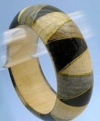 Fabulous Tan/Black Wooden Bangle Bracelet