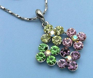 Fun Little Diva Flower Pendant on Silver Chain