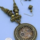 Fun Bronze Decorative Medallion Necklace and Earring Set