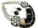 Flirty Black Beaded Floral Necklace and Earring Set