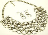 Flirty Silver Circles Bib Necklace and Earring Set