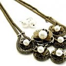 Flirty Black and Peal Necklace and Earring Set
