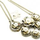 Flirty Silver and Pearl Necklace and Earring Set