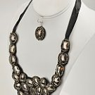 Flirty Black Bead and Floral Bib Necklace and Earring Set