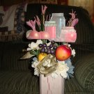 Jars of fruit floral arrangement