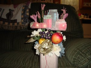 Jars of fruit floral arrangement