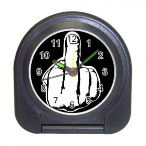New Middle Finger Up Black Compact Travel Alarm Clock 12183490