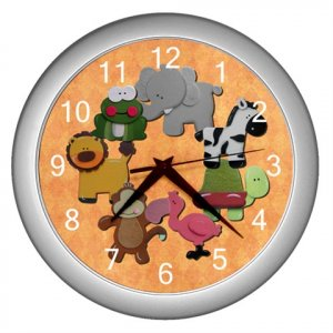 Baby JUNGLE Print Wall Clock Nursery Home Decor Gift Time 17762821