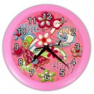 Pink GIRLS FLOWER Print Wall Clock Nursery Home Decor Gift Time 18898156