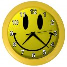 Retro YELLOW SMILEY FACE Print Wall Clock, Home Decor Gift Time 18914176