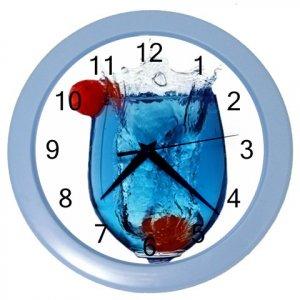 BLUE DRINK GLASS DESIGN Wall Clock, Home Decor, Bar Clock, Kitchen Clock, Gift Time 20572016