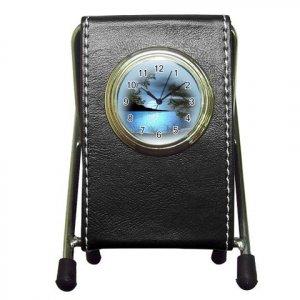 BLUE LAKE Black Leather Pen Holder Desk Clock Office Decor 20628723