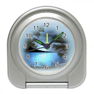 BLUE LAKE Silver Compact Travel Alarm Clock 20628721