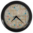 SCRABBLE GAMEBOARD Print Black Wall Clock Home Decor Office Gift Time 17519254