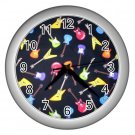 Electric Guitar Design Silver Wall Clock Home Decor Office Gift Time 14172948