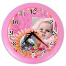 CUSTOM Baby Photo Pink Design Wall Clock Home Decor Office Gift Time 19377835