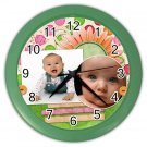 CUSTOM Baby Photo Green frame Design Wall Clock Home Decor Office Gift Time 19377840