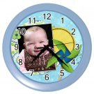 CUSTOM Photo Baby Boy Blue frame Design Wall Clock Home Decor Office Gift Time 19378679