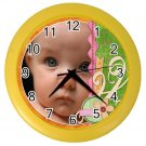 CUSTOM Baby Photo Yellow frame Design Wall Clock Home Decor Office Gift Time19377838