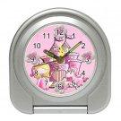 Pink PRINCESS Silver Compact Travel Alarm Clock 20628901