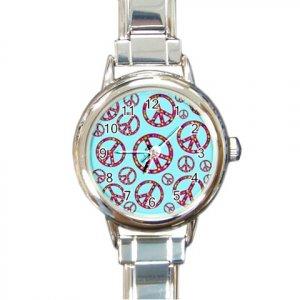 PEACE SIGNS Italian Charm Wrist Watch Round Jewelry 12628398