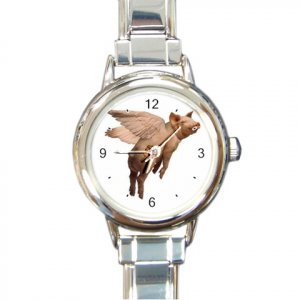 FLYING PIG Italian Charm Wrist Watch Round Jewelry 13588258