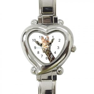 GIRAFFE Italian Charm Heart Shape Wrist Watch Jewelry 13435949