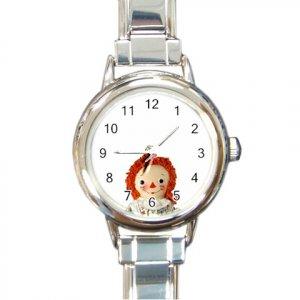 RAGGEDY ANN DOLL Wrist Watch Italian Charm Round Womens Jewelry 14666809