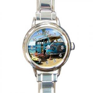 VOLKSWAGEN VW BUS Wrist Watch Italian Charm Round Womens Jewelry 16972325