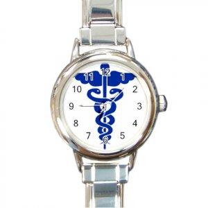 Caduceus MEDICAL SYMBOL Wrist Watch Italian Charm Round Womens Jewelry 17392944