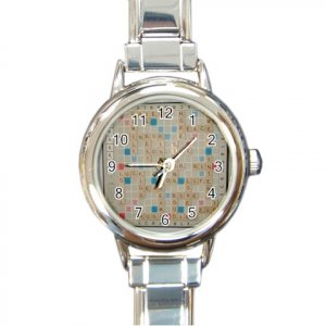 SCRABBLE GAME BOARD Watch Italian Charm Round Womens Jewelry 17519242