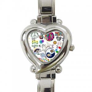 PEACE RETRO 60's Wrist Watch Italian Charm Heart Shape Jewelry 16972304