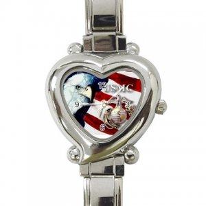 USMC Eagle Flag Womens Watch Italian Charm Heart Shape Jewelry 17393352