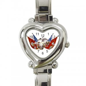 USMC Flags Womens Watch Italian Charm Heart Shape Jewelry 17393394