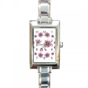 FLOWERS Italian Charm Wrist Watch Rectangular Jewelry 17387454