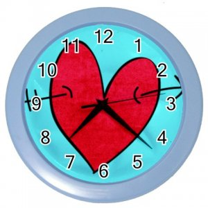 RED HEART Design Wall Clock Home Decor Office Gift Time 26619091