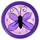 PURPLE BUTTERFLY Design Wall Clock, Home Decor, Office Gift Time 26618936