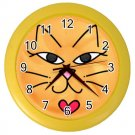 YELLOW KITTY CAT FACE Print Wall Clock, Home Decor Gift Time 26618948