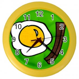 BACON AND EGGS Print Wall Clock, Home Decor Gift Time 26619041