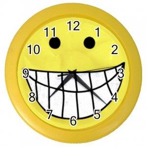 YELLOW SMILEY Print Wall Clock, Home Decor Gift Time 26619180
