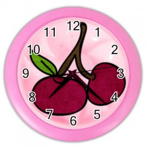 PINK CHERRIES Design Wall Clock, Home Decor, Office Gift Time 26618951