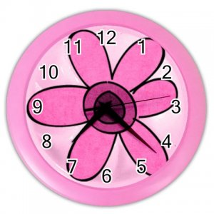PINK FLOWER Design Wall Clock, Home Decor, Office Gift Time 26619060