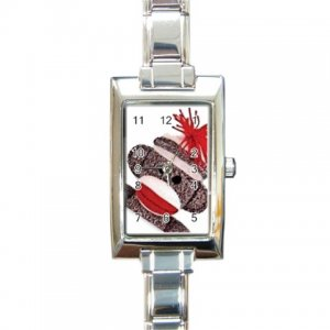 SOCK MONKEY Italian Charm Wrist Watch Rectangular Jewelry 25916317