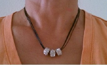 Stylish Leather thread necklace with 3 bling bling rings